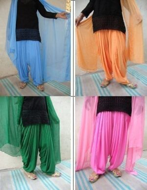 25 Crepe Patiala Salwar Dupatta set Bulk Wholesale Lot Mix Colours