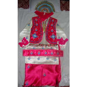 Magenta / Cream embroidered Bhangra dance dress outfit costume