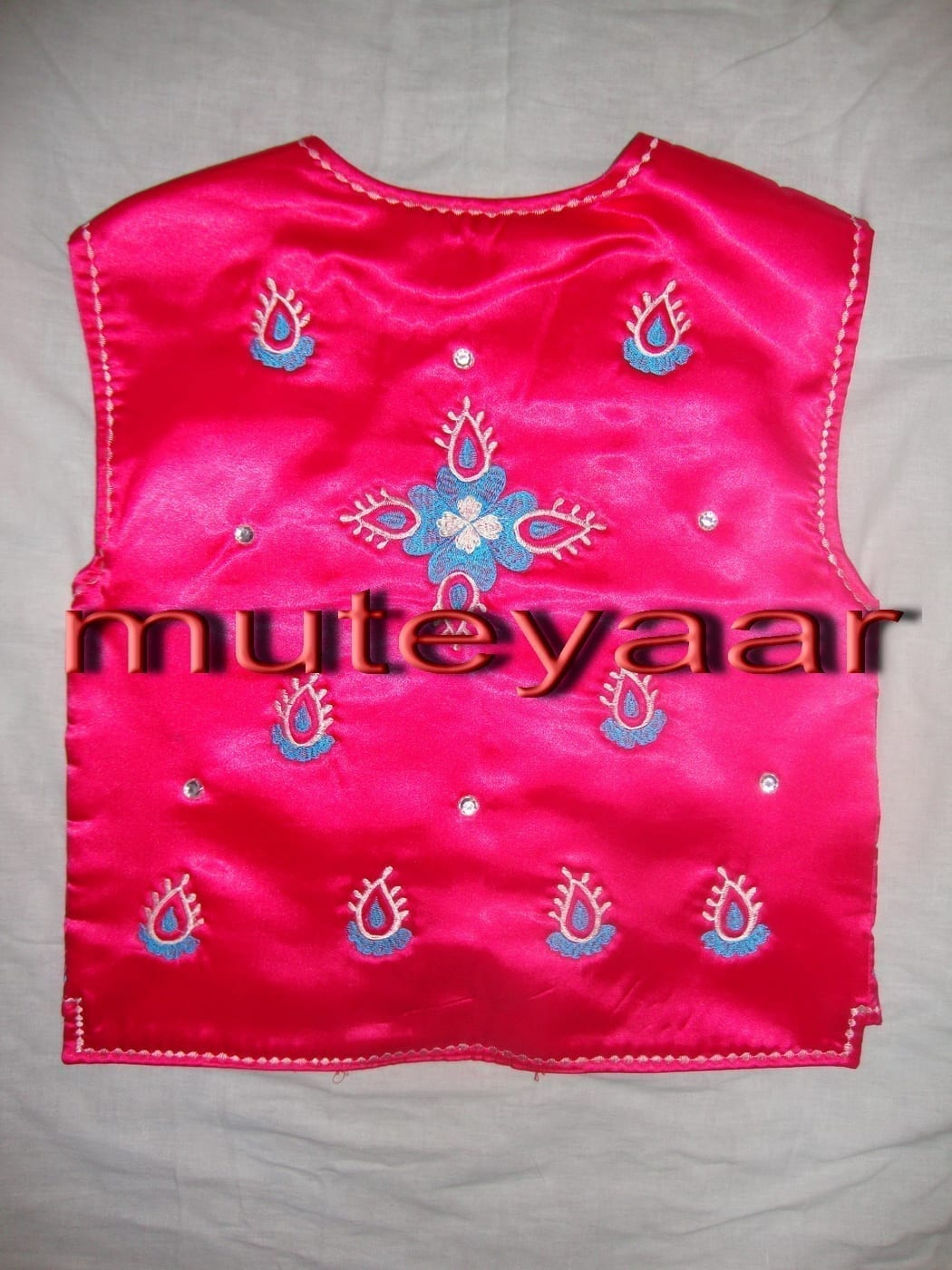 Magenta / Cream embroidered Bhangra dance dress outfit costume 3