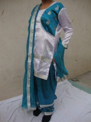 BLUE/WHITE custom made Girl's Bhangra Costume outfit dance dress