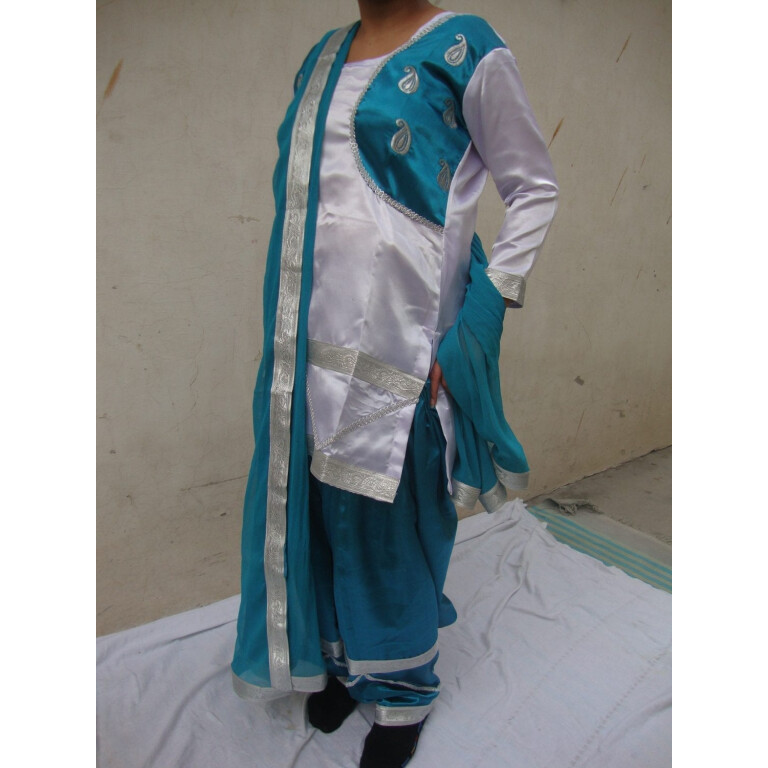 BLUE/WHITE custom made Girl's Bhangra Costume outfit dance dress