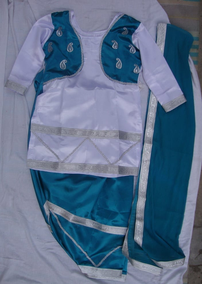 Blue White Girl's Bhangra Costume Outfit Dance Dress 2