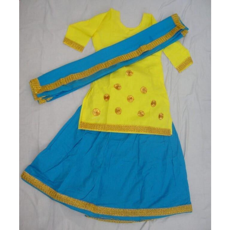 Blue Yellow custom made GIDDHA  Costume outfit dance dress