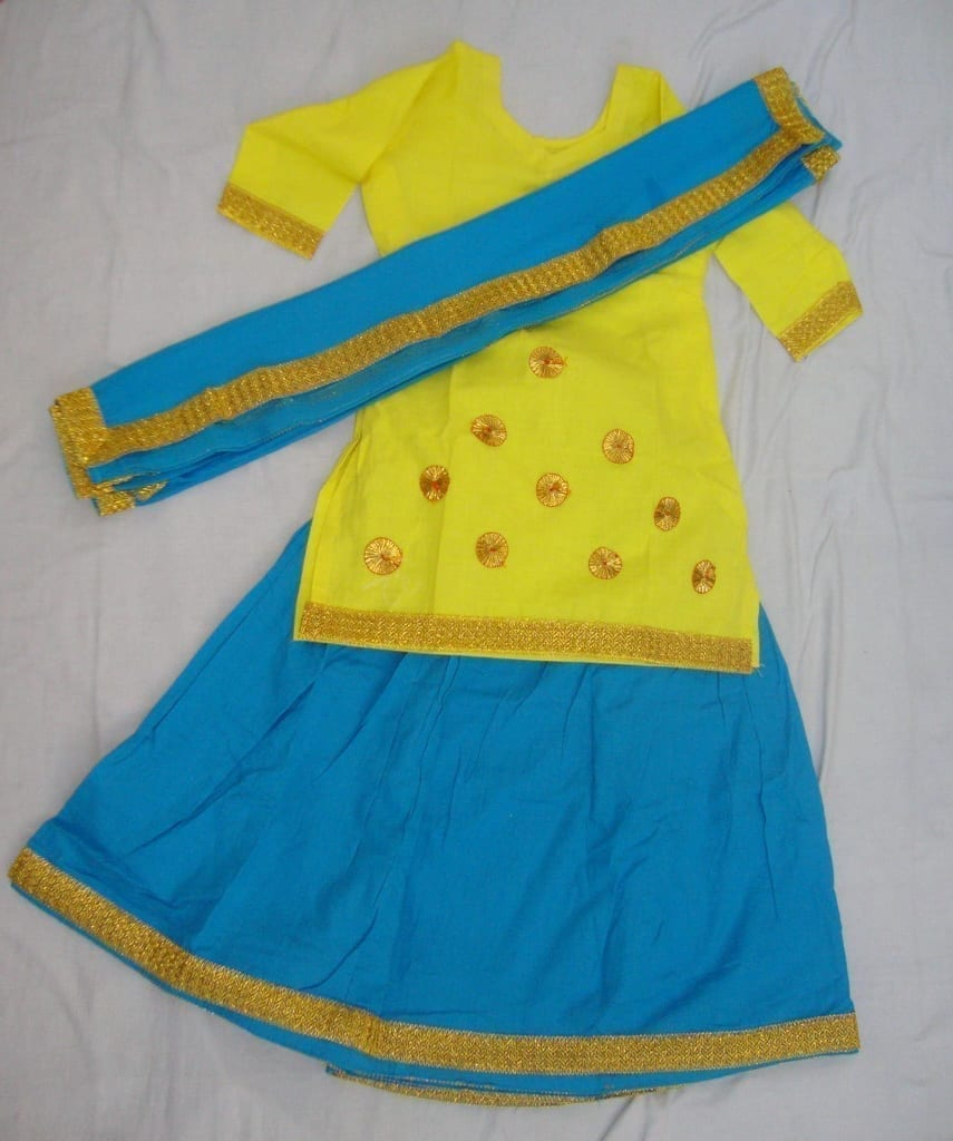 Blue Yellow custom made GIDDHA  Costume outfit dance dress 1
