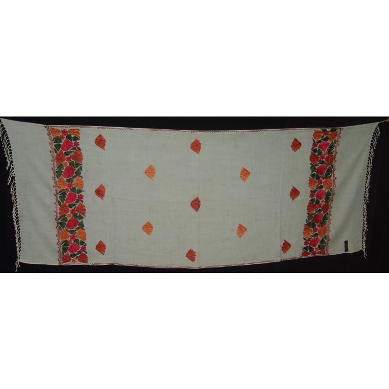 White Kashmiri woollen jaal palla embroidered stole C0126