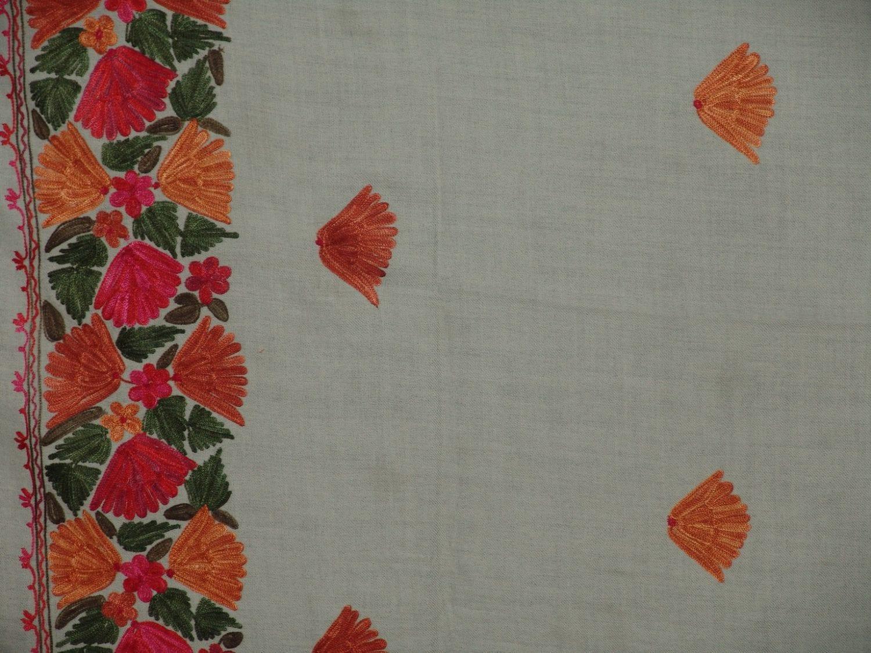 White Kashmiri woollen jaal palla embroidered stole C0126 2