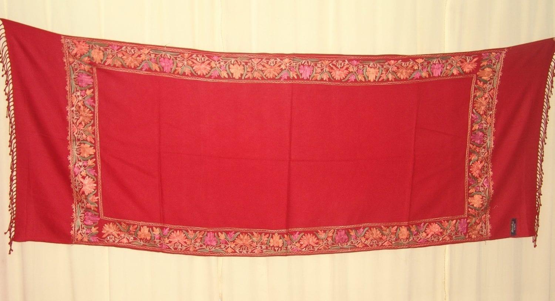 Maroon Cashmere pashmina border embroidered stole C0130 1