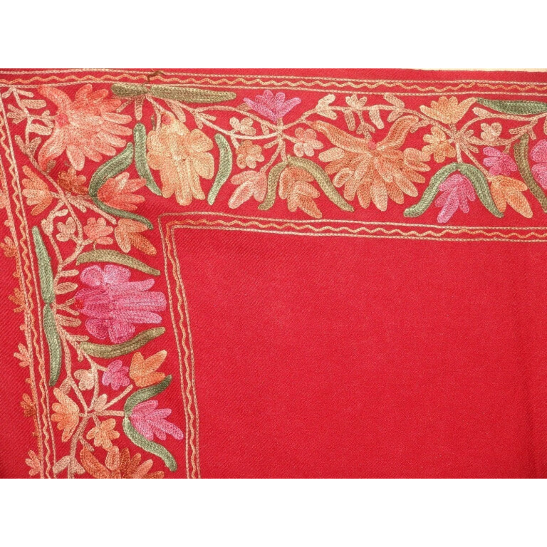 Maroon Cashmere pashmina border embroidered stole C0130