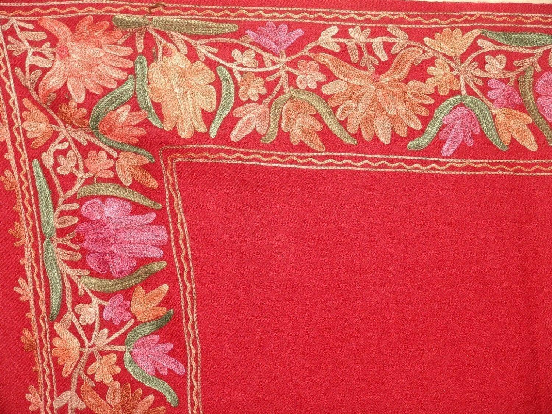 Maroon Cashmere pashmina border embroidered stole C0130 2