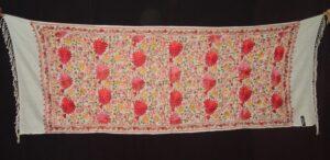 White Kashmiri Pashmina Heavy embroidered stole C0138