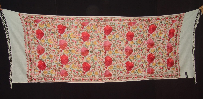 White Kashmiri Pashmina Heavy embroidered stole C0138 1