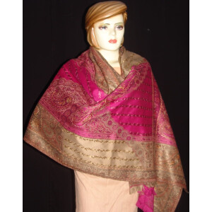 magenta thread embroidered Cashmere Stole C0233