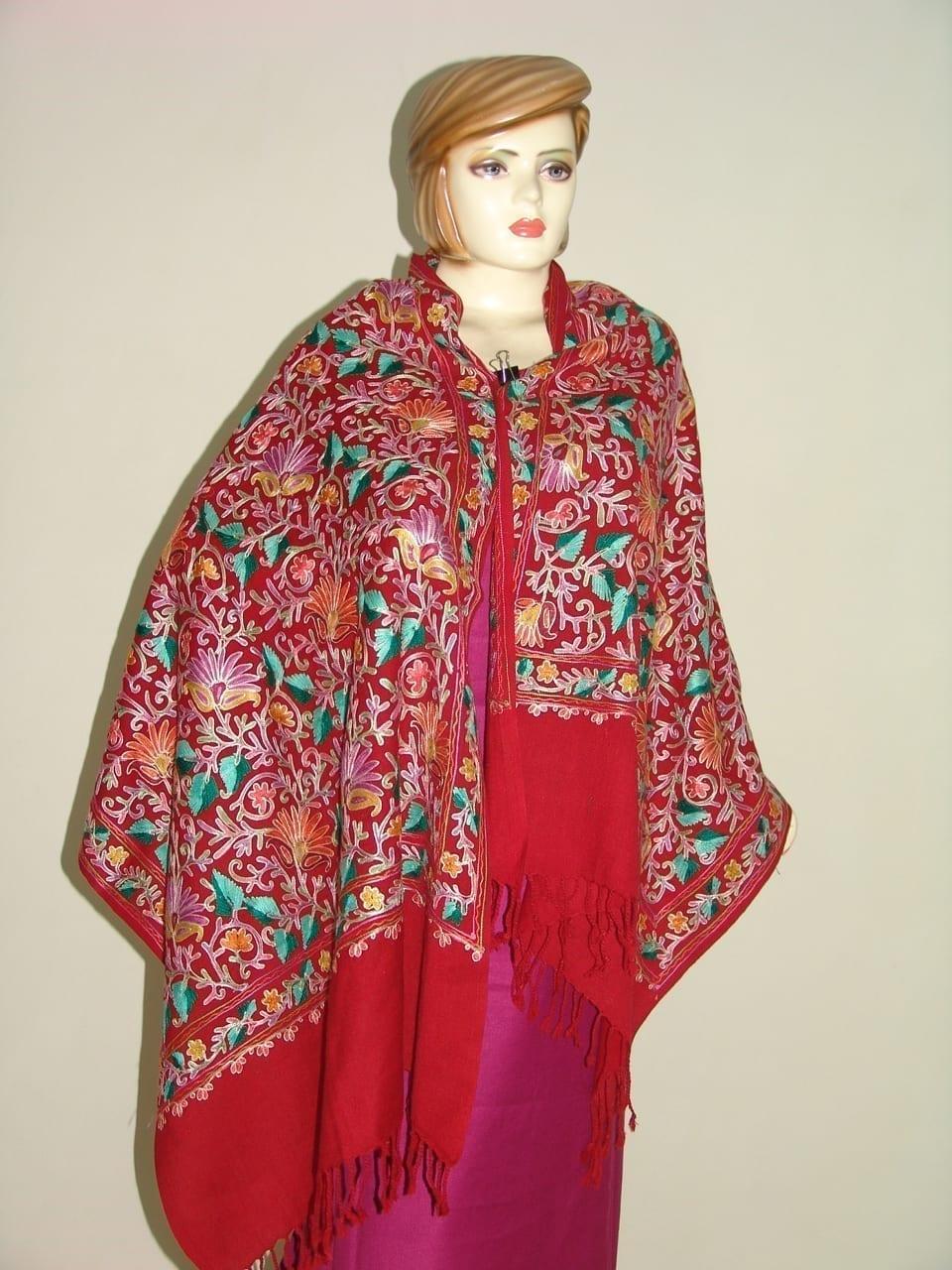 Kashmiri Pashmina Heavy JAAL Embroidered stole wrap C0298 1
