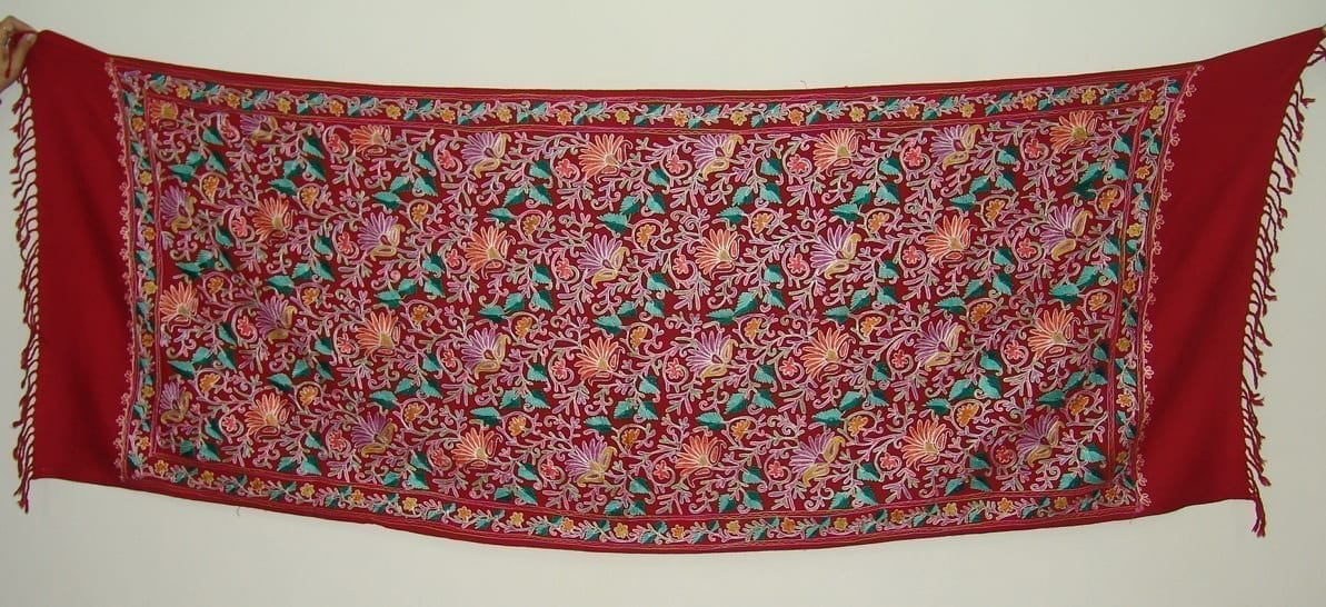 Kashmiri Pashmina Heavy JAAL Embroidered stole wrap C0298 2