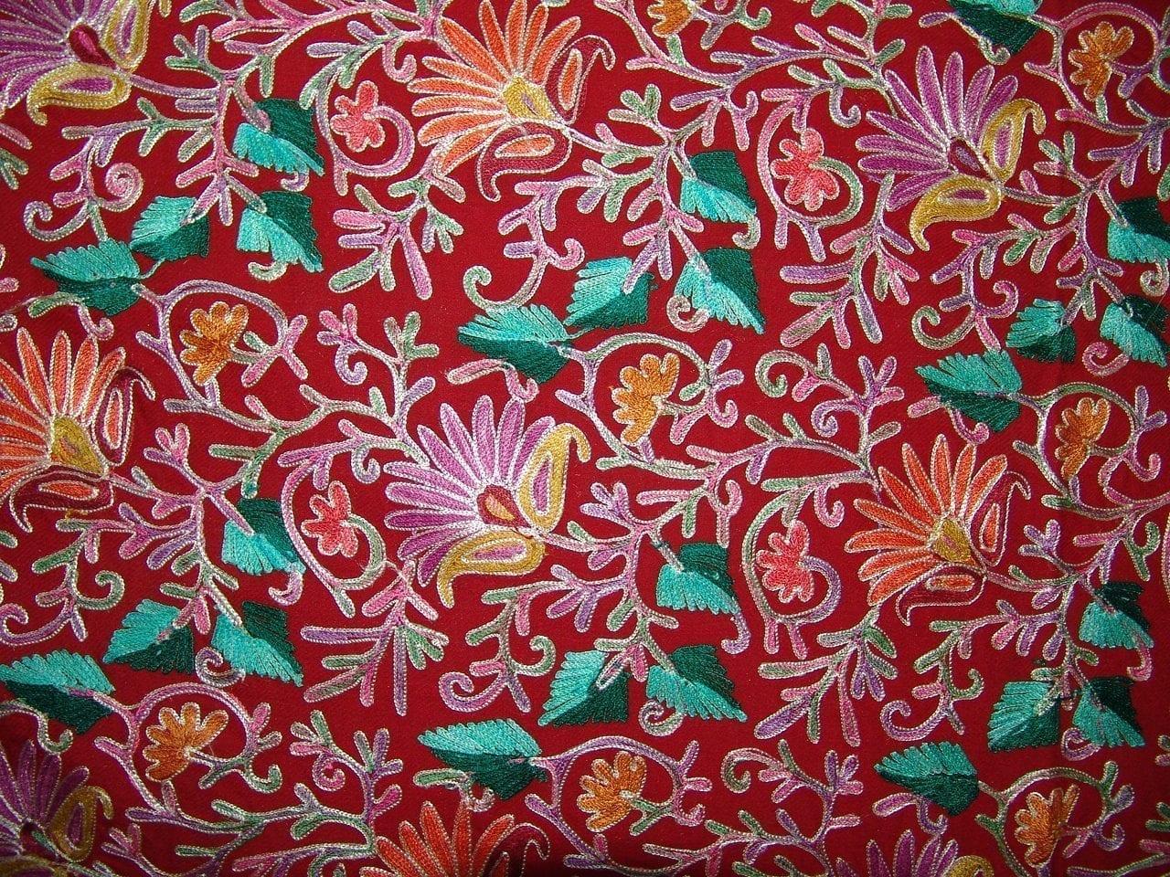 Kashmiri Pashmina Heavy JAAL Embroidered stole wrap C0298 3