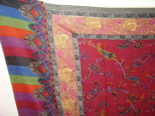 PURE Pashmina EMBROIDERED Designer Cashmere SHAWL C0309
