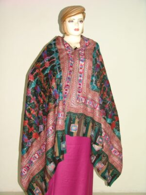 PURE Pashmina EMBROIDERED Designer Cashmere SHAWL C0310
