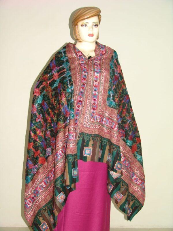 PURE Pashmina EMBROIDERED Designer Cashmere SHAWL C0310