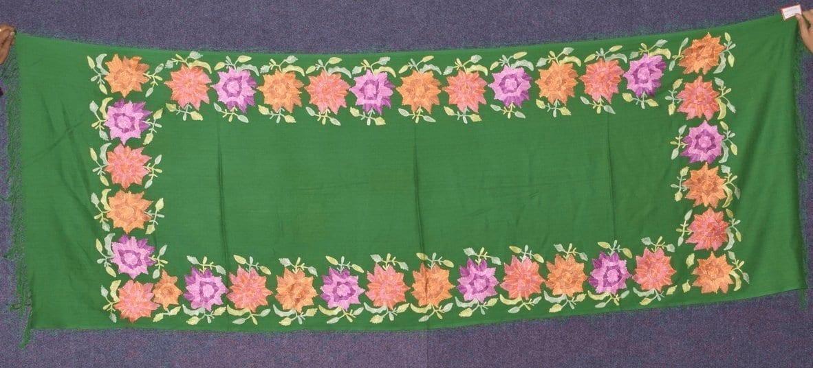 Pure Pashmina Kashmiri multicolor thread embroidered woollen stole C0415 1