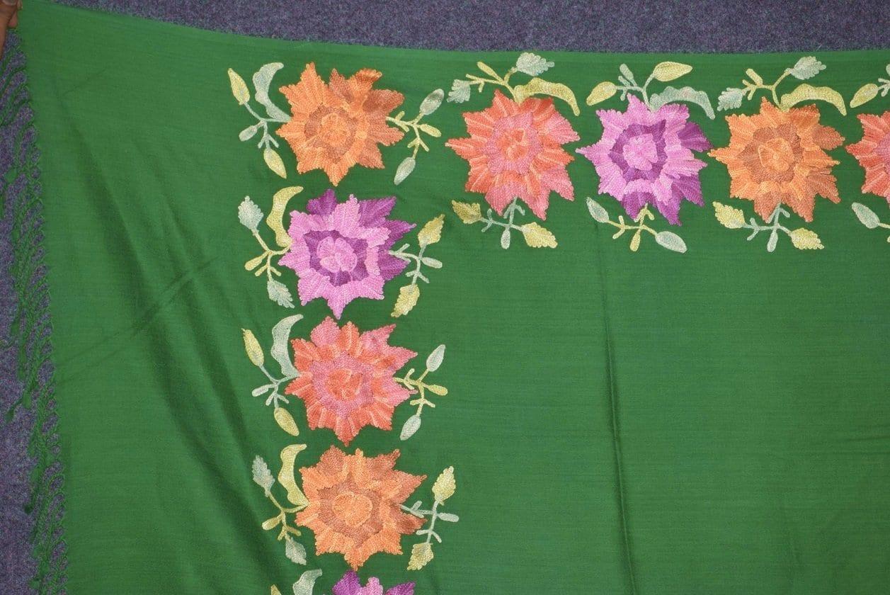 Pure Pashmina Kashmiri multicolor thread embroidered woollen stole C0415 2