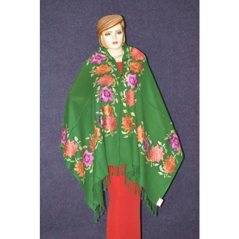 Pure Pashmina Kashmiri multicolor thread embroidered woollen stole C0415