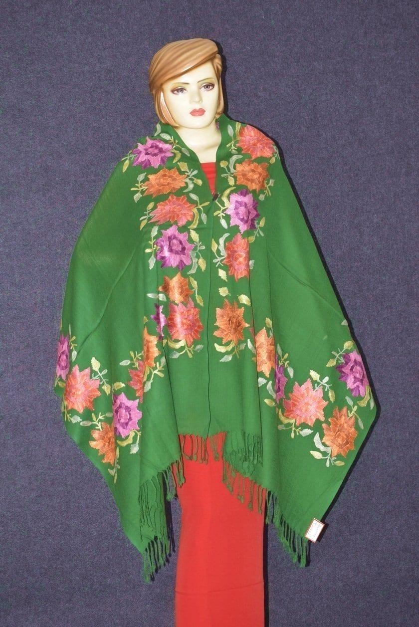 Pure Pashmina Kashmiri multicolor thread embroidered woollen stole C0415 3