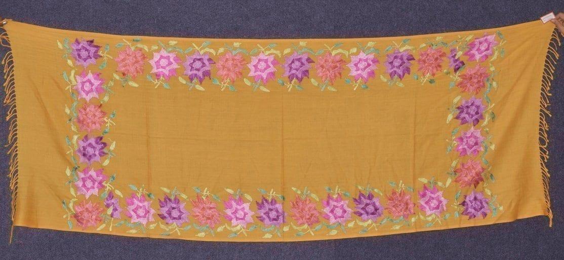 Pure Pashmina Kashmiri multicolor thread embroidered woollen stole C0419 1