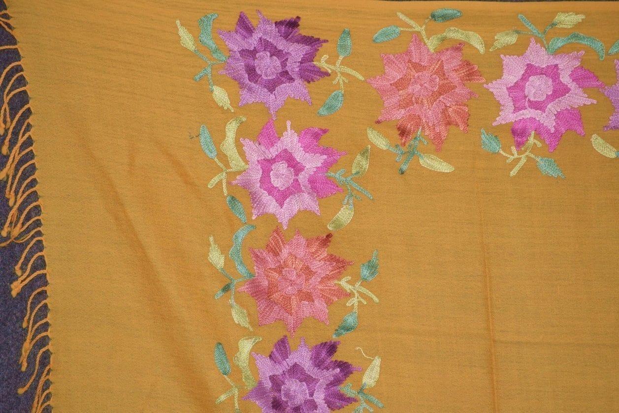 Pure Pashmina Kashmiri multicolor thread embroidered woollen stole C0419 2