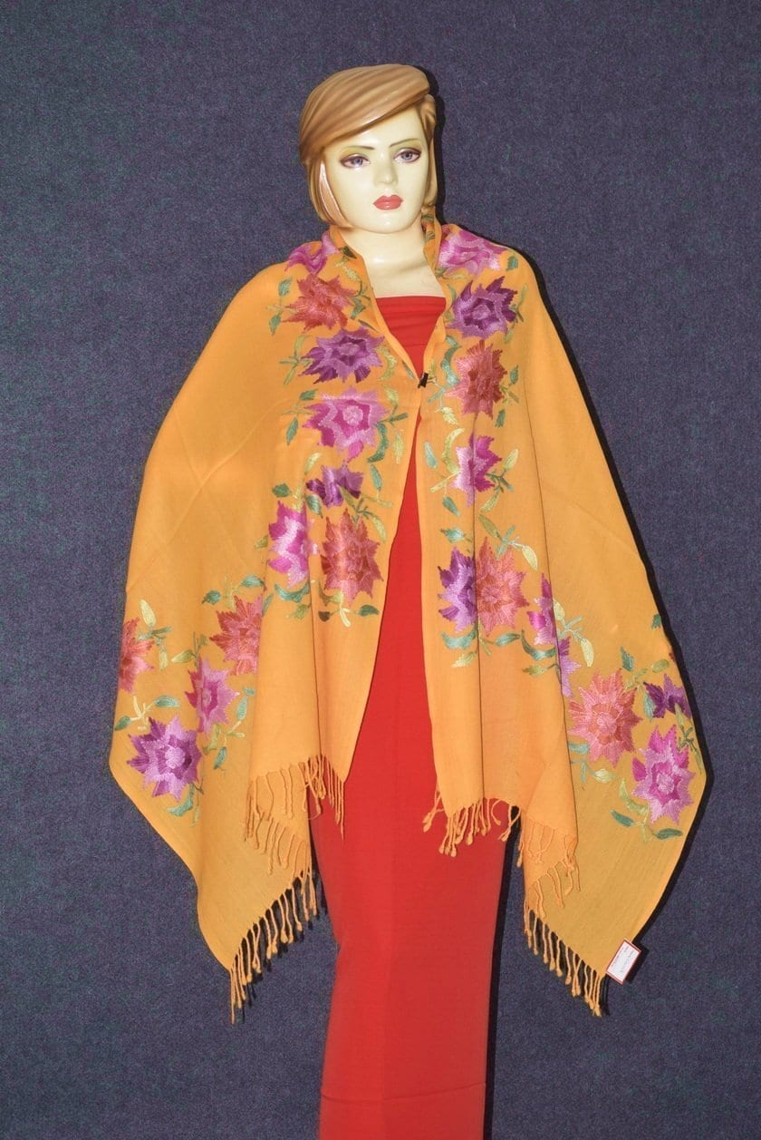 Pure Pashmina Kashmiri multicolor thread embroidered woollen stole C0419 3