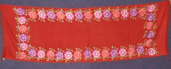 Pure Pashmina Kashmiri multicolor thread embroidered woollen stole C0421