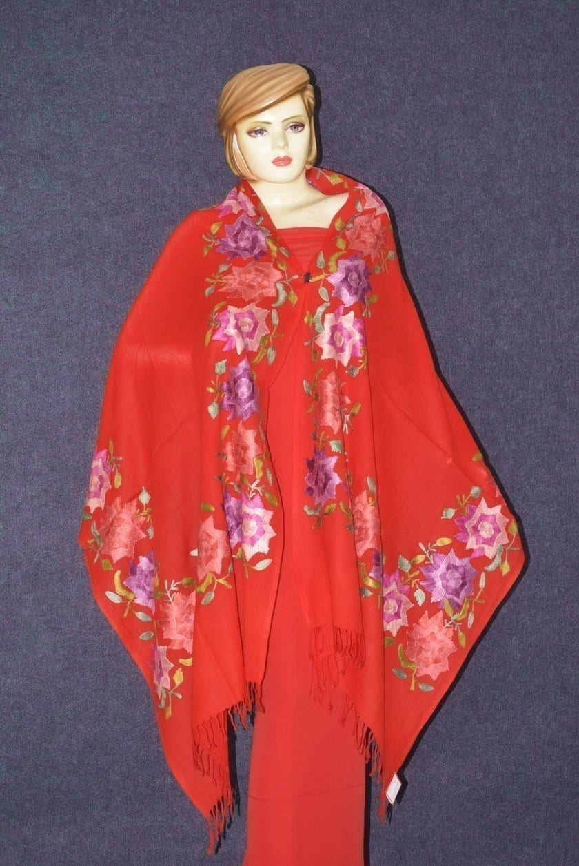 Pure Pashmina Kashmiri multicolor thread embroidered woollen stole C0421 3