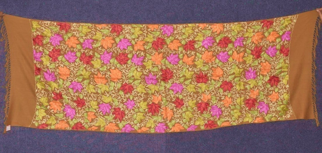 Pure Pashmina Kashmiri multicolor HEAVY JAAL embroidered woollen stole C0428 1