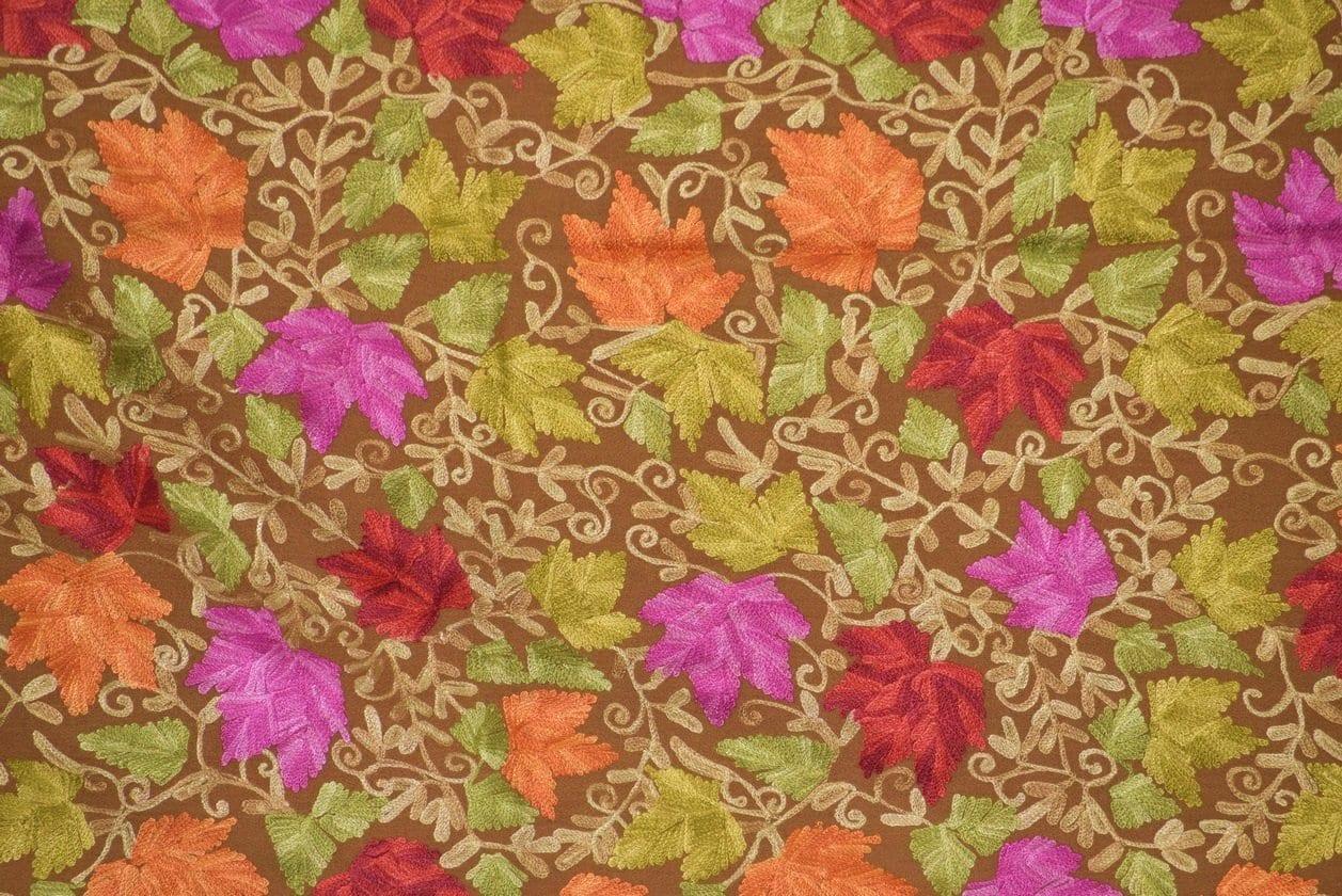 Pure Pashmina Kashmiri multicolor HEAVY JAAL embroidered woollen stole C0428 2