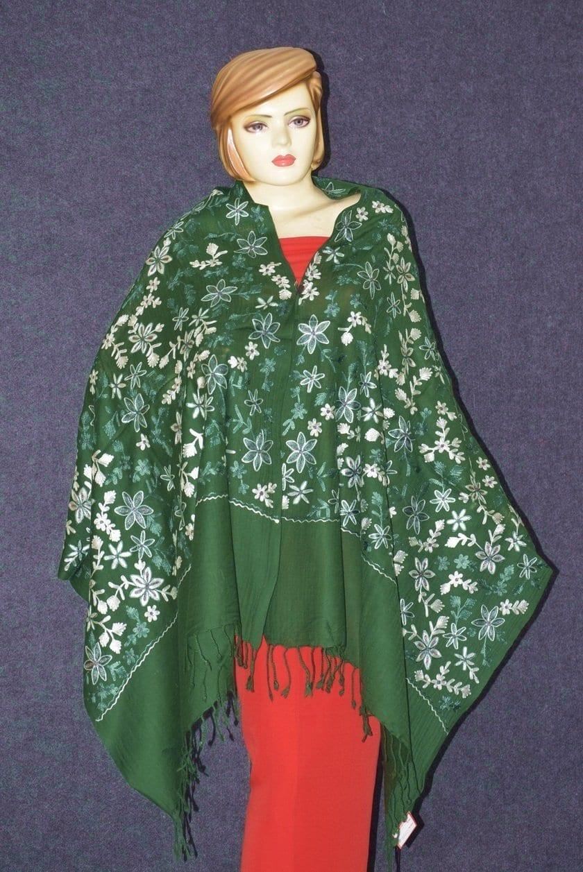 Pure Pashmina Kashmiri ZARI JAAL embroidered woollen stole C0431 3