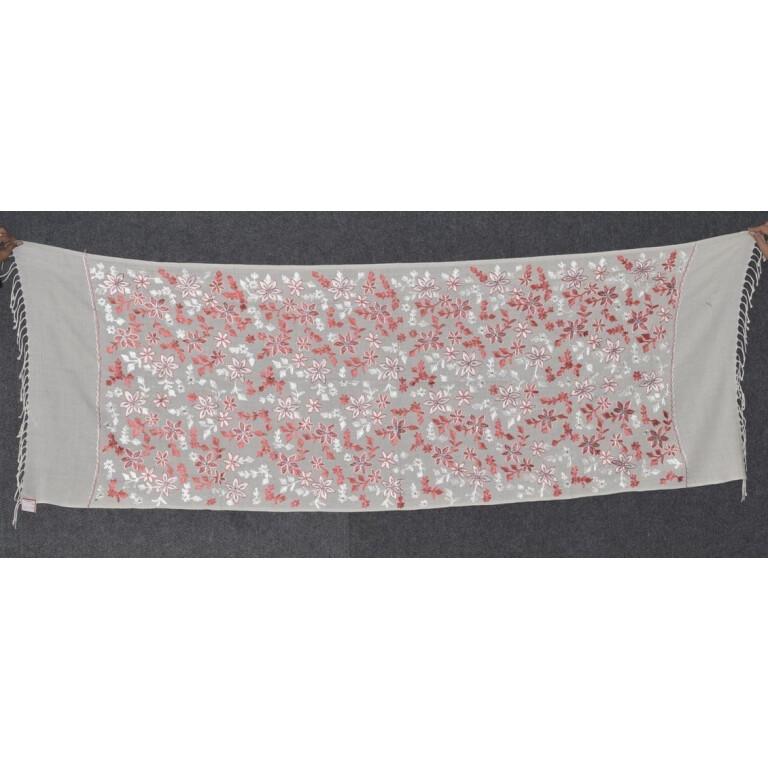 Pure Pashmina Kashmiri ZARI JAAL embroidered woollen stole C0432