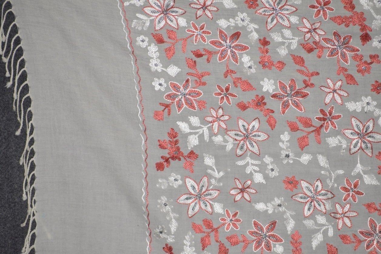 Pure Pashmina Kashmiri ZARI JAAL embroidered woollen stole C0432 2