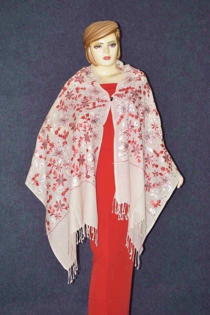 Pure Pashmina Kashmiri ZARI JAAL embroidered woollen stole C0432 3