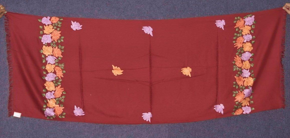 SEMI Pashmina Kashmiri PALLA WORK embroidered woollen stole C0434 1