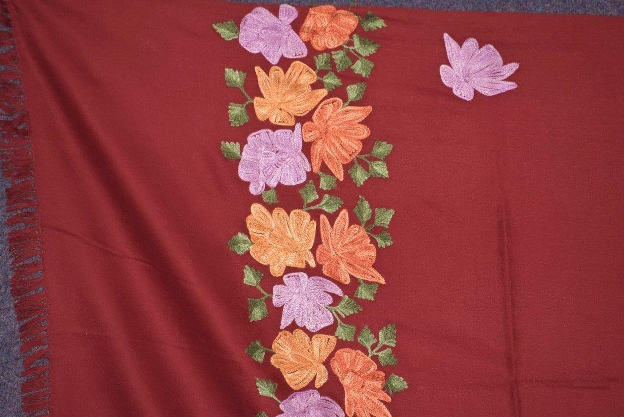 SEMI Pashmina Kashmiri PALLA WORK embroidered woollen stole C0434