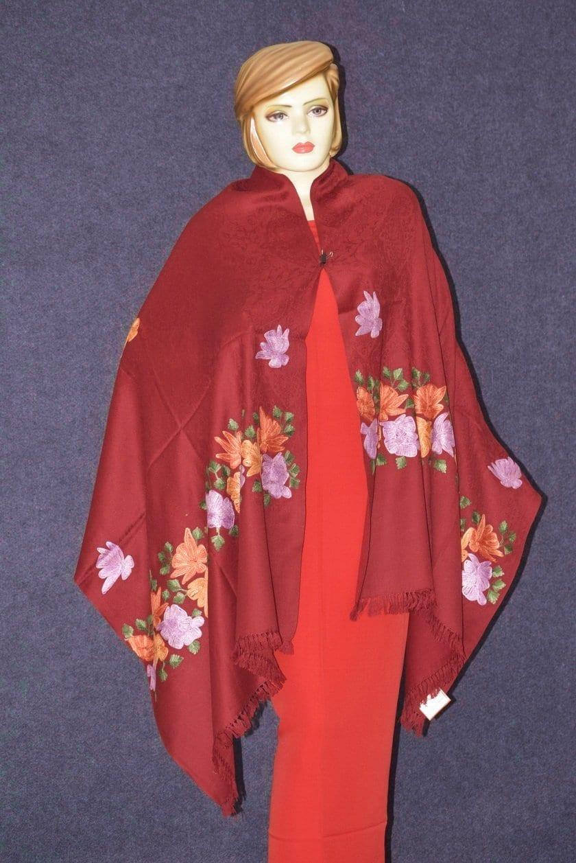 SEMI Pashmina Kashmiri PALLA WORK embroidered woollen stole C0434 3