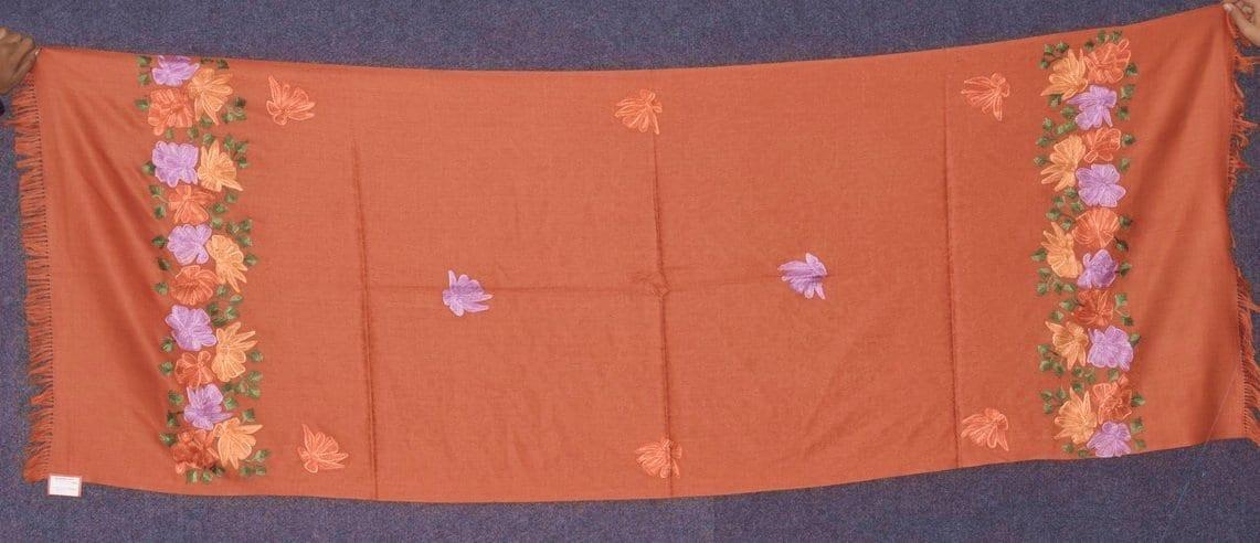 SEMI Pashmina Kashmiri PALLA WORK embroidered woollen stole C0439 1