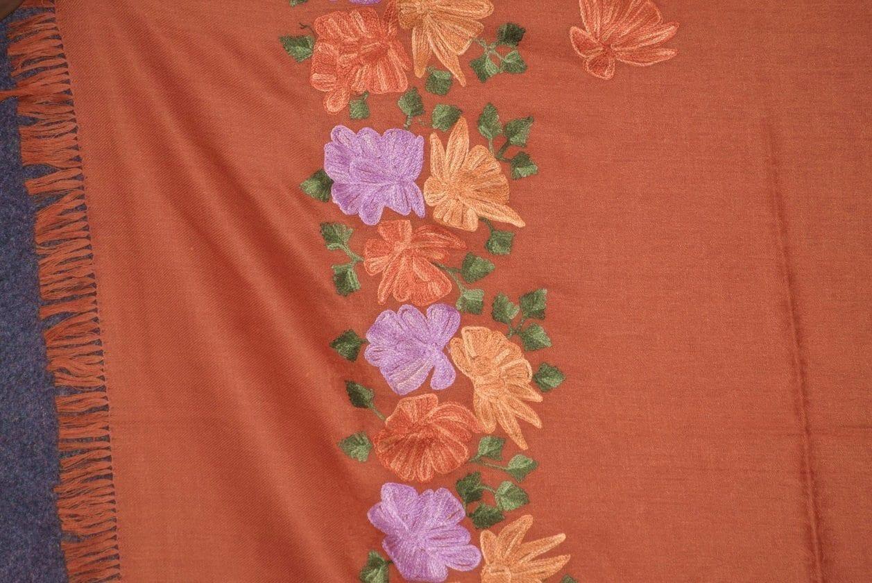 SEMI Pashmina Kashmiri PALLA WORK embroidered woollen stole C0439 2