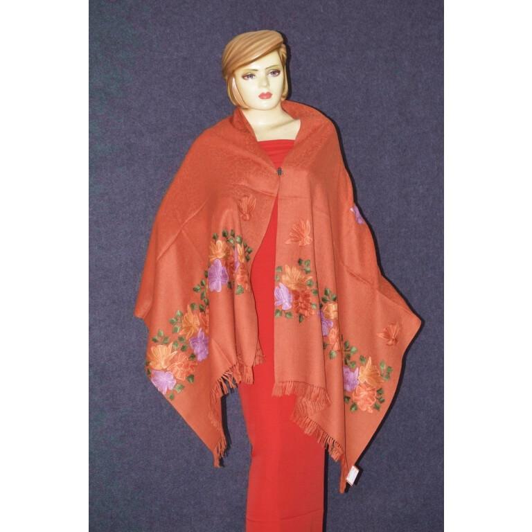 SEMI Pashmina Kashmiri PALLA WORK embroidered woollen stole C0439