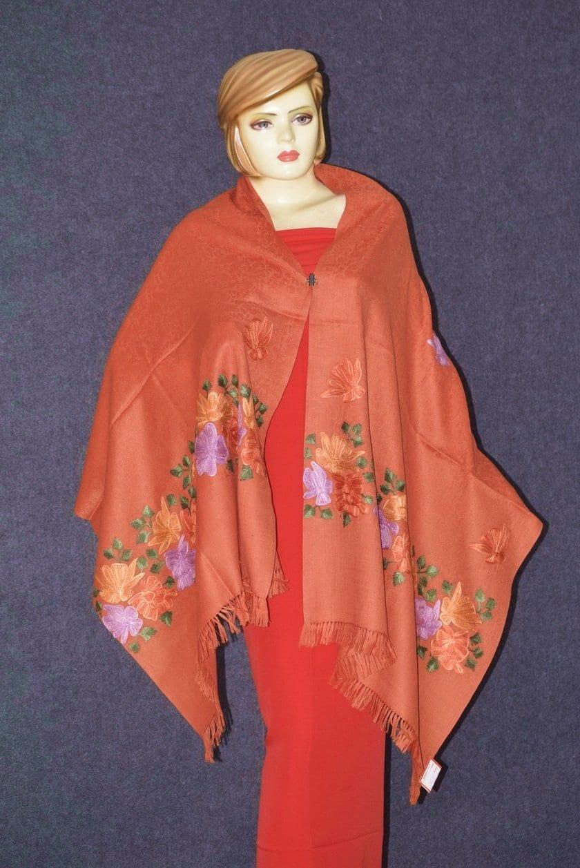 SEMI Pashmina Kashmiri PALLA WORK embroidered woollen stole C0439 3