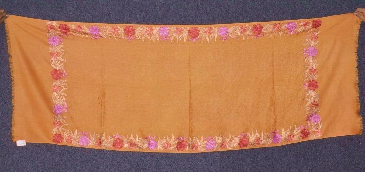 SEMI Pashmina Kashmiri BORDER WORK embroidered woollen stole C0440 1