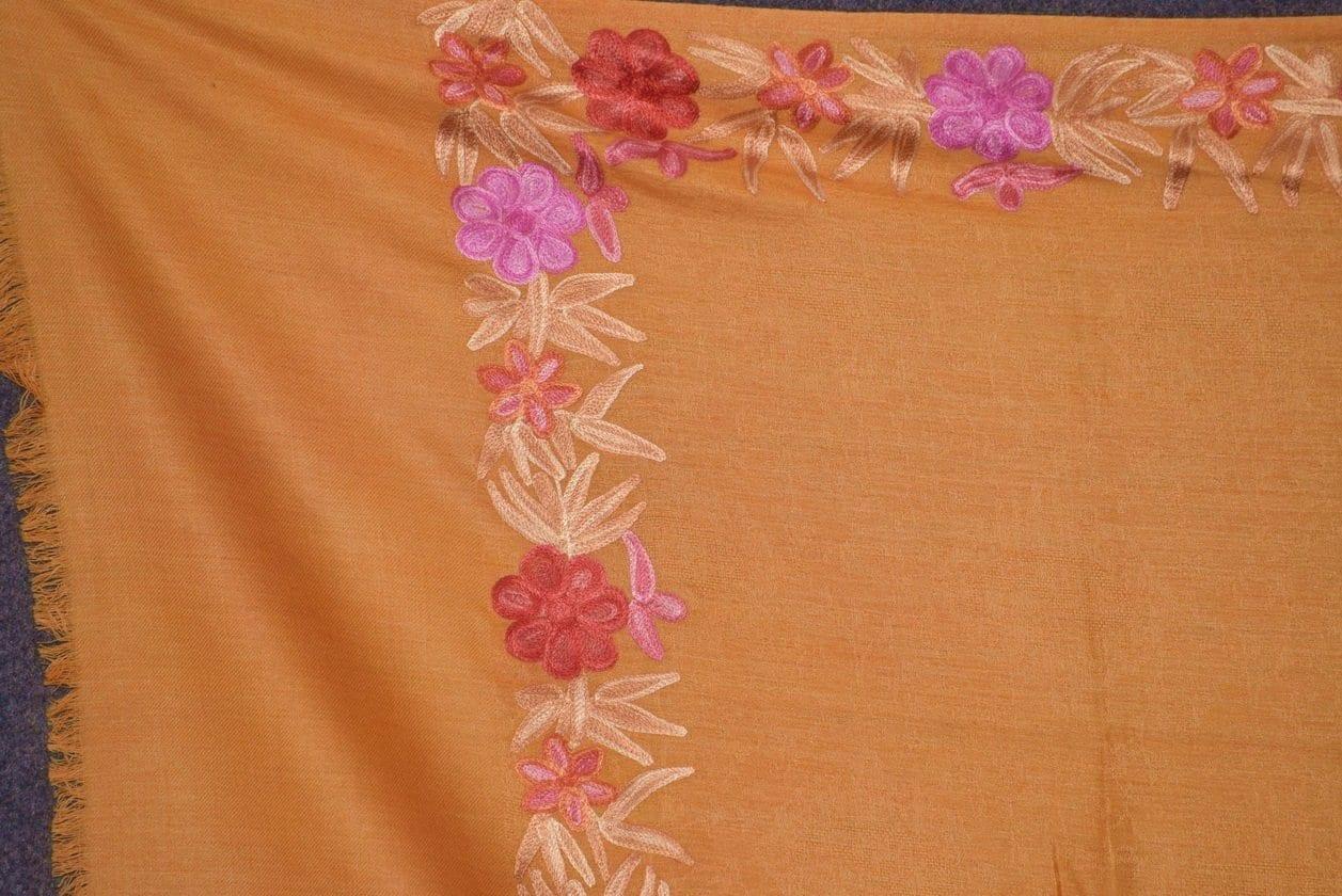 SEMI Pashmina Kashmiri BORDER WORK embroidered woollen stole C0440 2