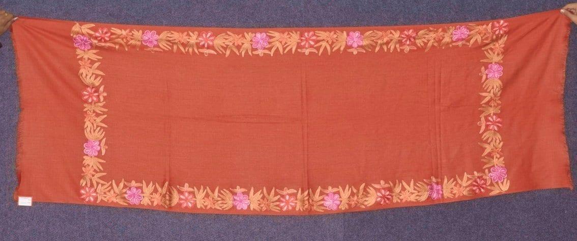 SEMI Pashmina Kashmiri BORDER WORK embroidered woollen stole C0442 1