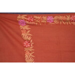 SEMI Pashmina Kashmiri BORDER WORK embroidered woollen stole C0442