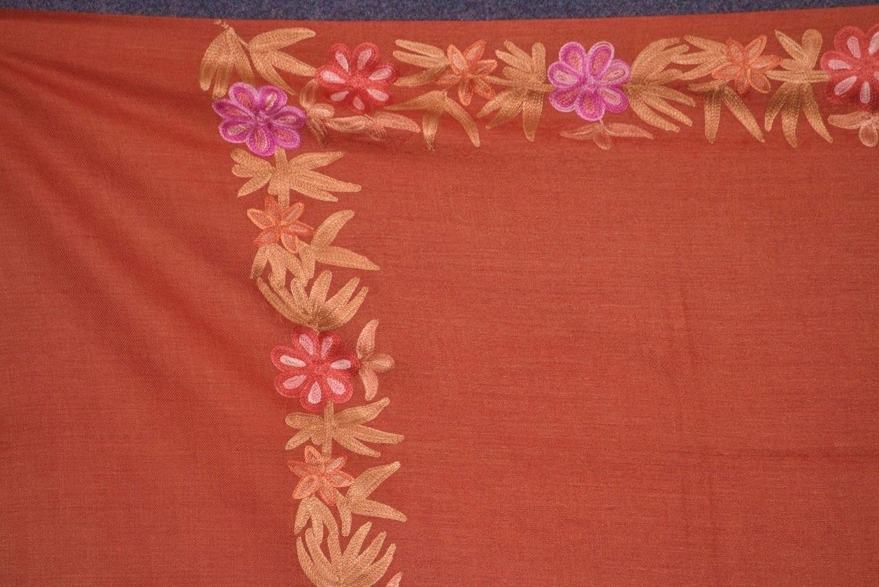 SEMI Pashmina Kashmiri BORDER WORK embroidered woollen stole C0442 2
