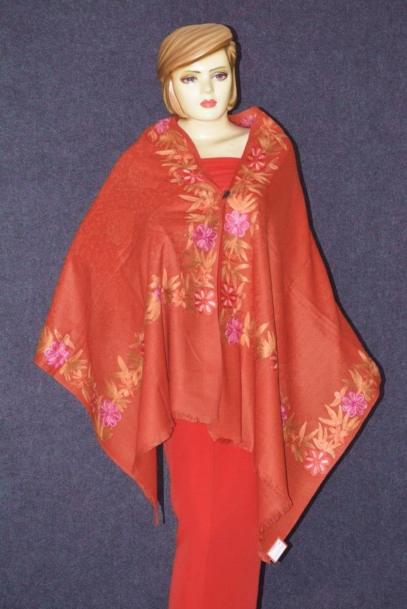 SEMI Pashmina Kashmiri BORDER WORK embroidered woollen stole C0442 3